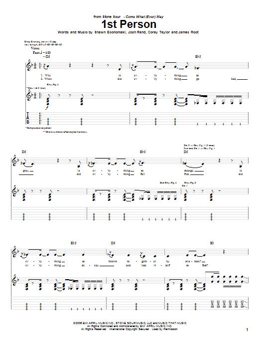 Tablature guitare 1st Person de Stone Sour - Tablature Guitare