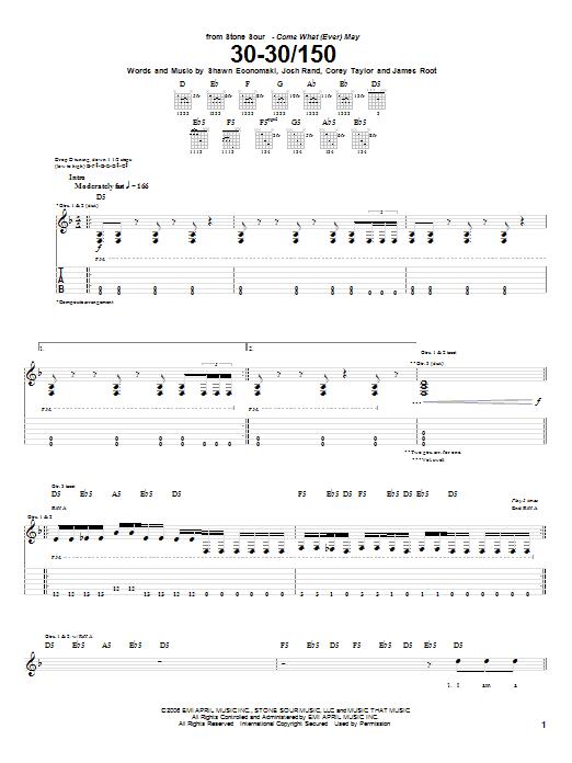 Tablature guitare 30-30/150 de Stone Sour - Tablature Guitare