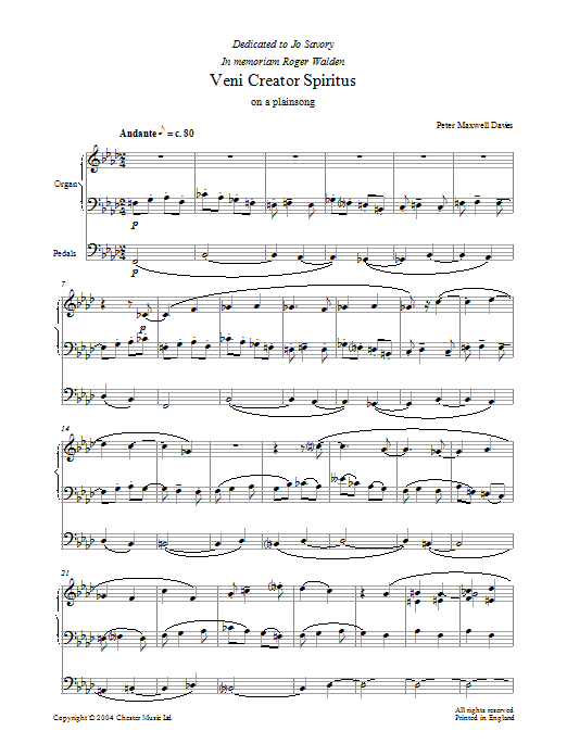 Veni Creator Spiritus sheet music for organ solo by Peter Maxwell Davies