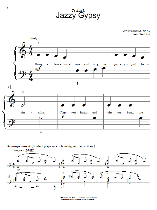 Jazzy Gypsy sheet music for piano four hands (duets) by Jennifer Linn