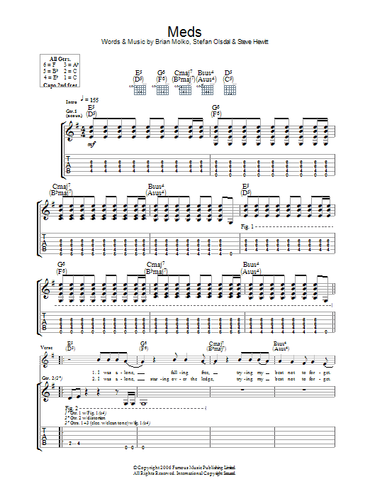 Meds sheet music for guitar solo (tablature) by Brian Molko