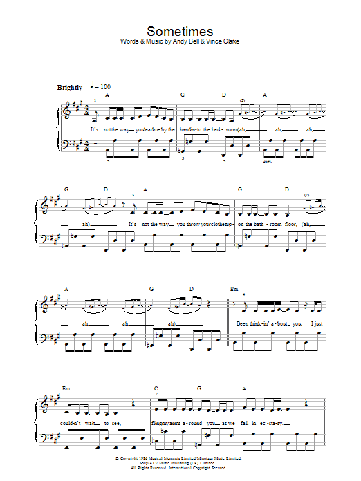 Sometimes sheet music for piano solo (chords) by Andy Bell