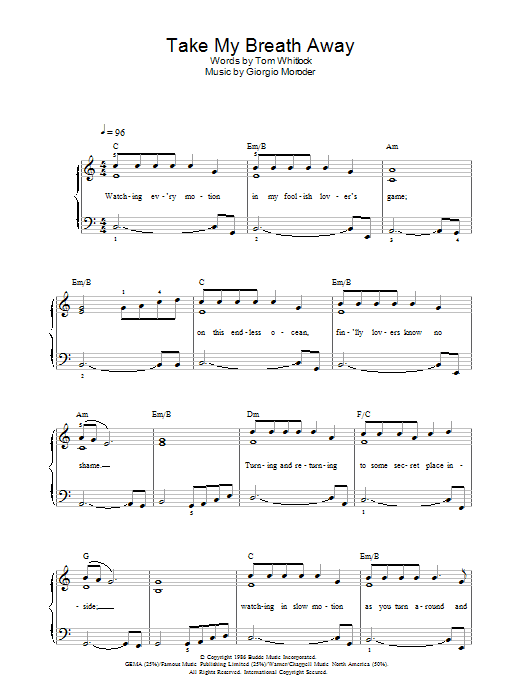 Take My Breath Away sheet music for voice, piano or guitar by Giorgio Moroder