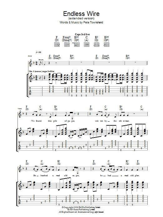 Endless Wire (Extended Version) sheet music for guitar solo (tablature) by Pete Townshend