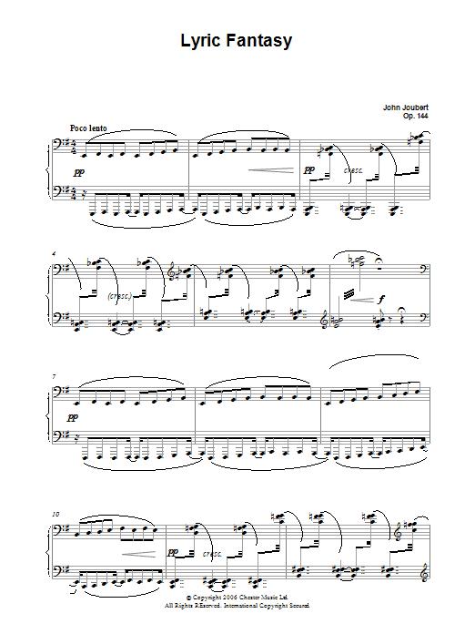 Lyric Fantasy sheet music for piano solo by John Joubert