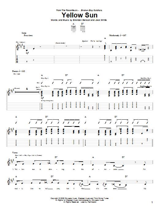Tablature guitare Yellow Sun de The Raconteurs - Tablature Guitare