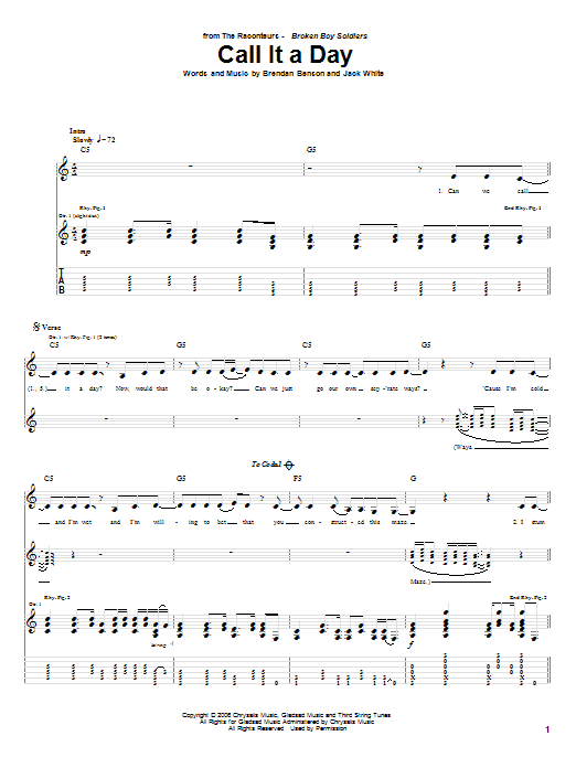 Tablature guitare Call It A Day de The Raconteurs - Tablature Guitare