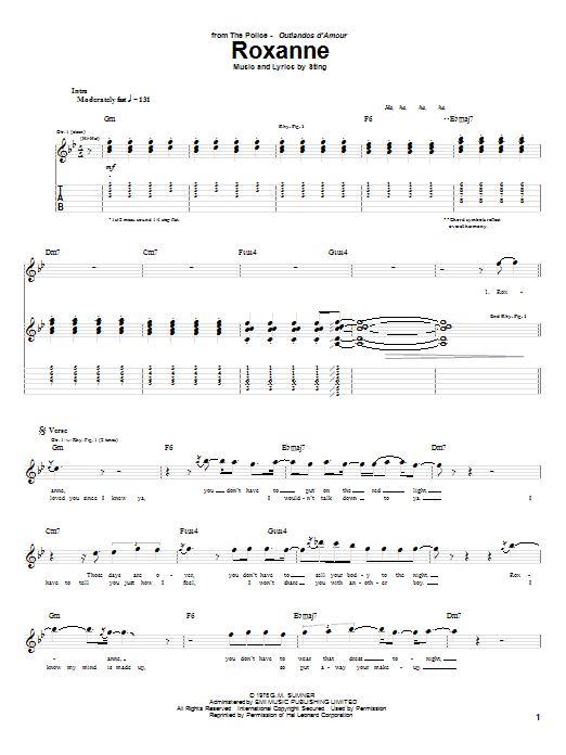 Tablature guitare Roxanne de The Police - Tablature Guitare