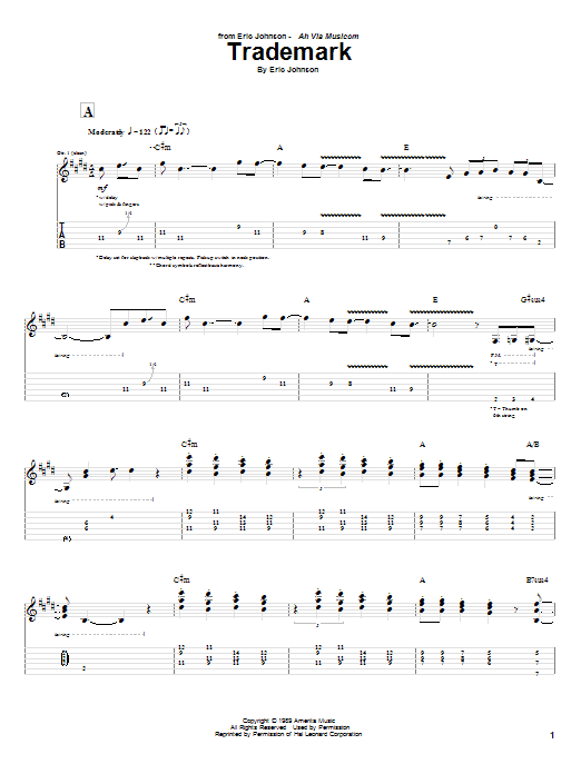Tablature guitare Trademark de Eric Johnson - Tablature Guitare