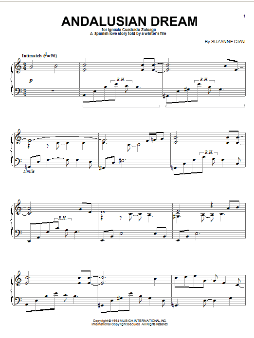 Andalusian Dream sheet music for piano solo by Suzanne Ciani