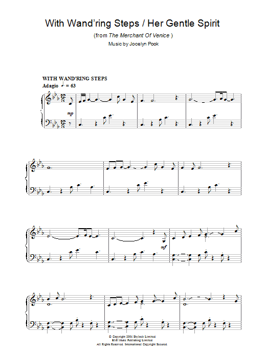 With Wand'ring Steps (from The Merchant Of Venice) sheet music for piano solo by Jocelyn Pook