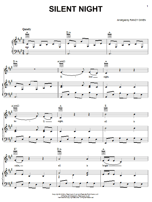 Silent Night sheet music by Alabama (Piano, Vocal u0026 Guitar (Right-Hand Melody) u2013 58048)