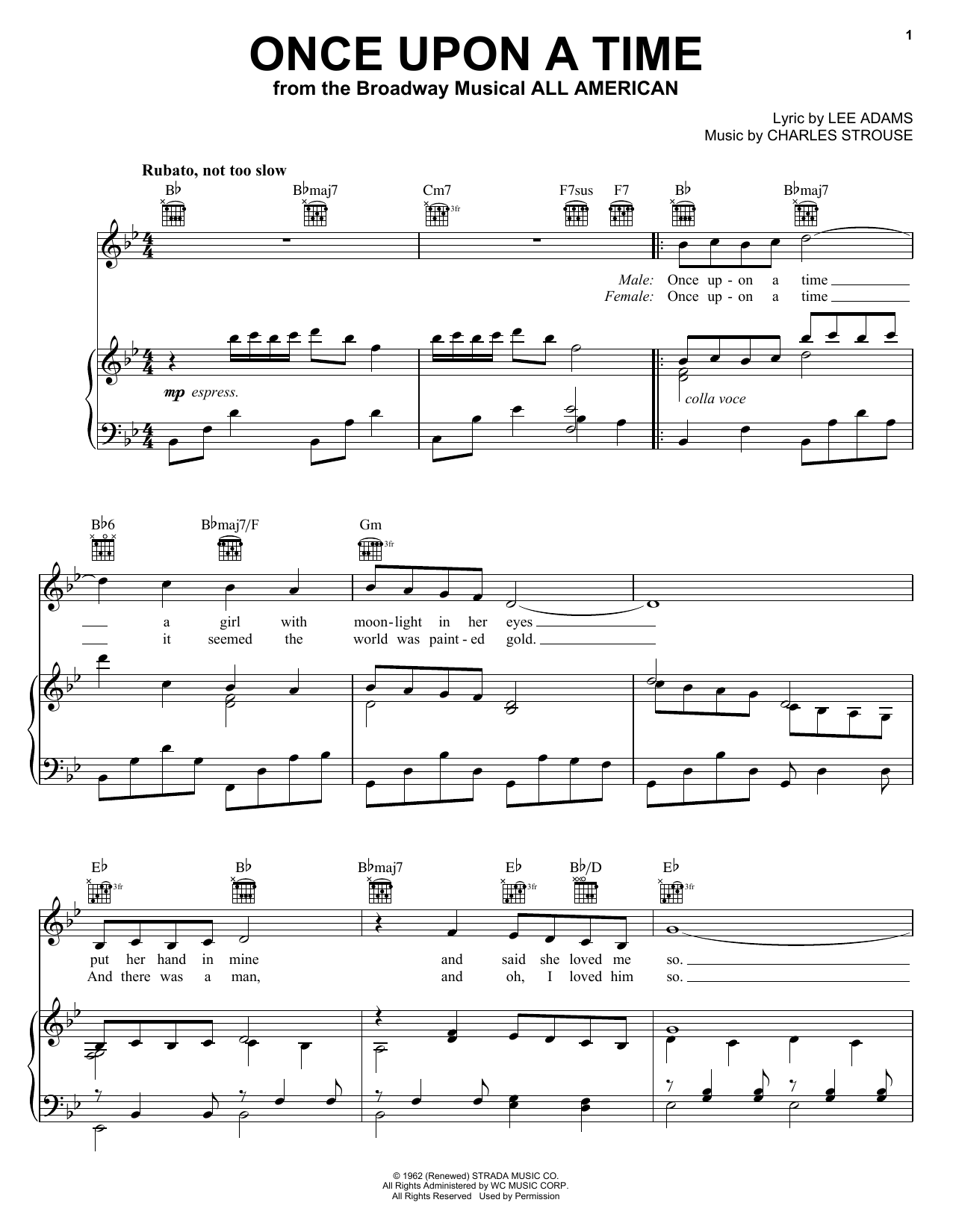 Once Upon A Time sheet music for voice, piano or guitar by Lee Adams
