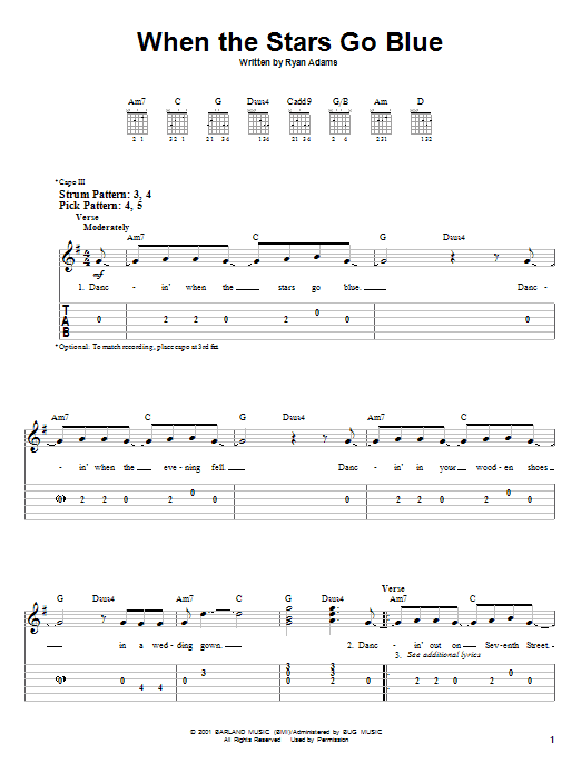 Tablature guitare When The Stars Go Blue de Tim McGraw - Tablature guitare facile