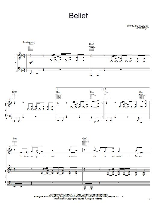 Sheet Music Digital Files To Print Licensed John Mayer Digital