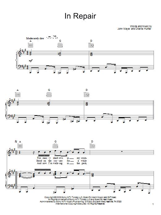 Partition piano In Repair de John Mayer - Piano Voix Guitare (Mélodie Main Droite)