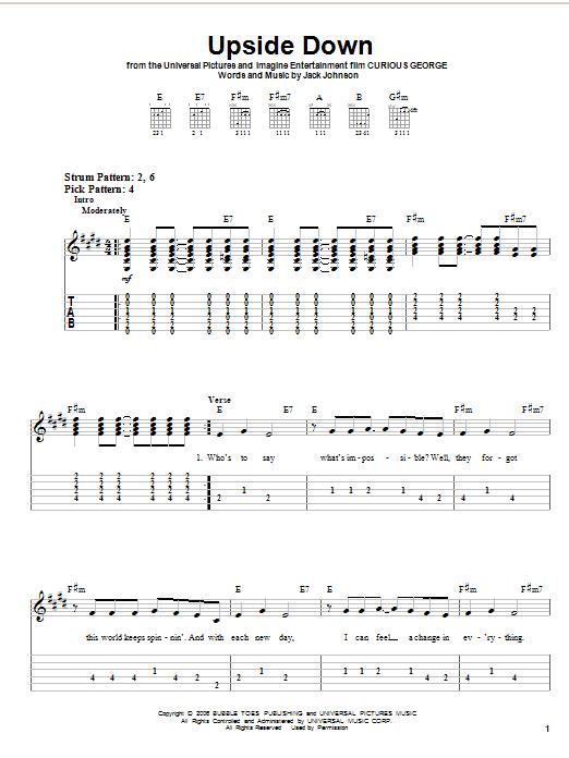 Tablature guitare Upside Down de Jack Johnson - Tablature guitare facile