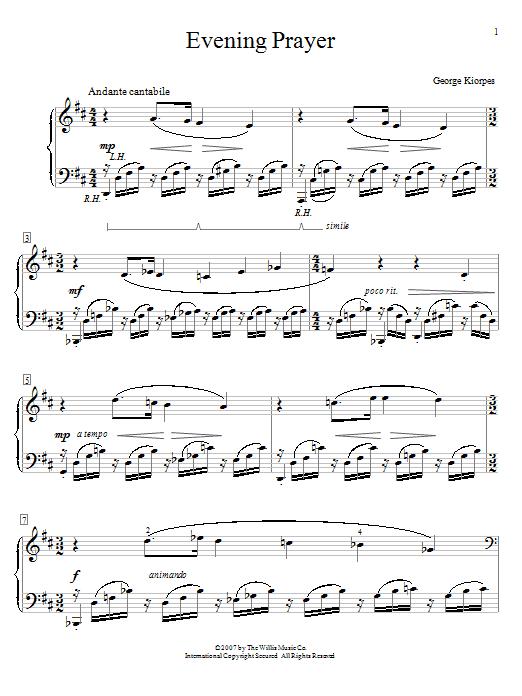 Partition piano Evening Prayer de George Kiorpes - Piano Facile