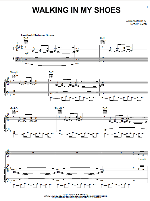 Walking In My Shoes sheet music for voice, piano or guitar by Martin Gore