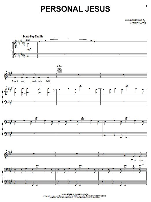 Personal Jesus sheet music for voice, piano or guitar by Martin Gore