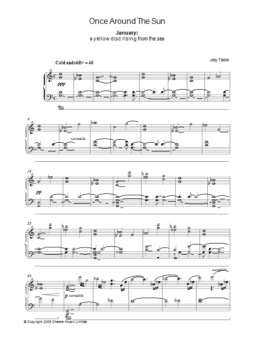 January (from Once Around The Sun) sheet music for piano solo by Joby Talbot