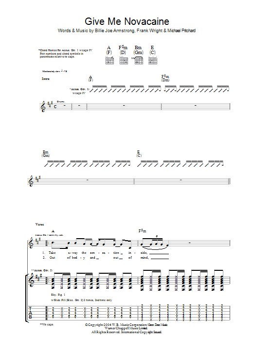 Give Me Novacaine sheet music for guitar solo (tablature) by Billie Joe Armstrong