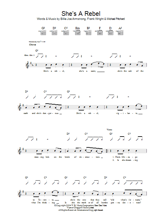 She's A Rebel sheet music for guitar solo (tablature) by Billie Joe Armstrong