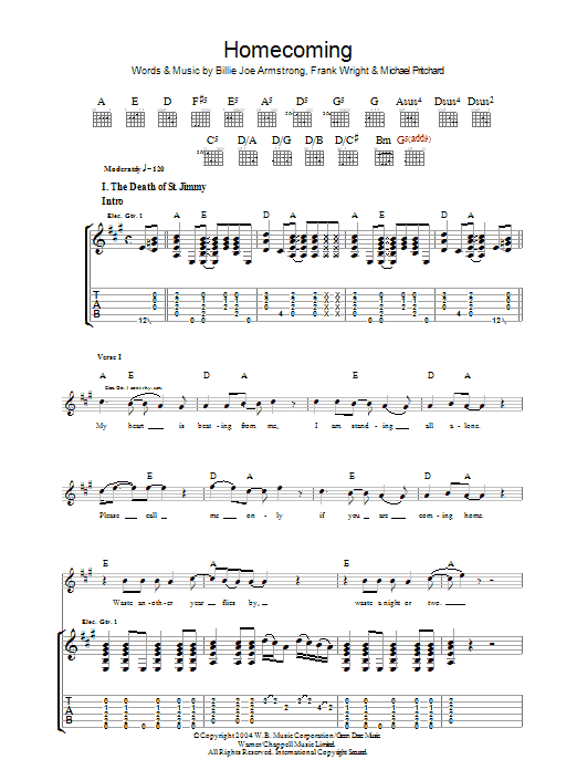 Homecoming sheet music for guitar solo (tablature) by Billie Joe Armstrong
