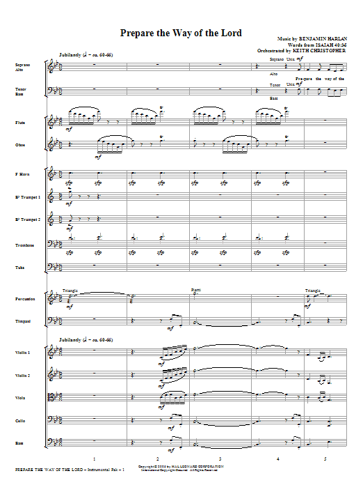 Prepare The Way Of The Lord (COMPLETE) sheet music for orchestra/band (Orchestra) by Benjamin Harlan