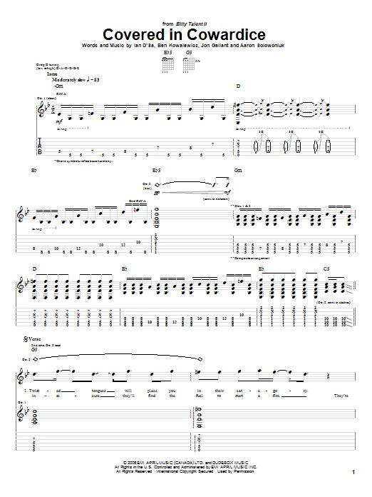 Tablature guitare Covered In Cowardice de Billy Talent - Tablature Guitare