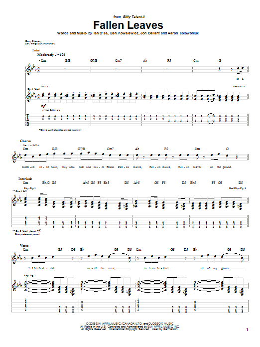 Tablature guitare Fallen Leaves de Billy Talent - Tablature Guitare