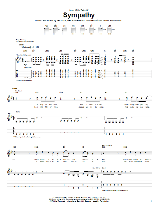 Tablature guitare Sympathy de Billy Talent - Tablature Guitare
