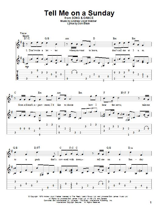Tablature guitare Tell Me On A Sunday de Andrew Lloyd Webber - Tablature Guitare