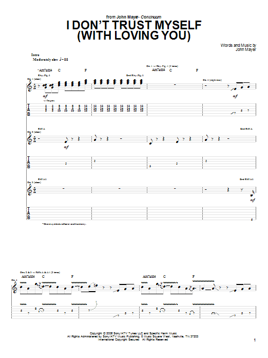 Tablature guitare I Don't Trust Myself (With Loving You) de John Mayer - Tablature Guitare