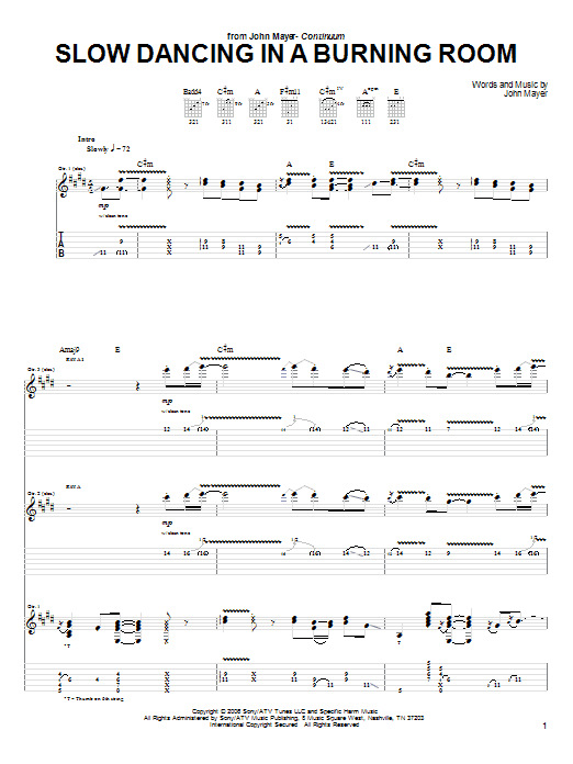 John Mayer: Slow Dancing In A Burning Room - Guitar Tab : Sheetmusicdirect.com