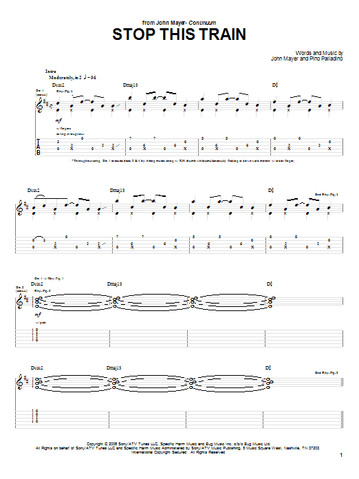 Tablature guitare Stop This Train de John Mayer - Tablature Guitare