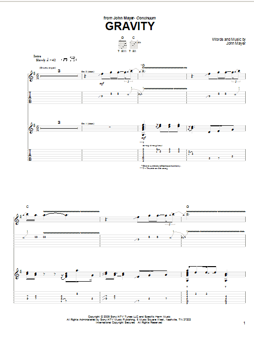 Tablature guitare Gravity de John Mayer - Tablature Guitare