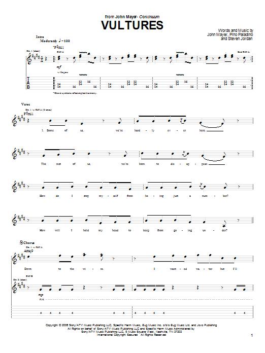 Tablature guitare Vultures de John Mayer - Tablature Guitare