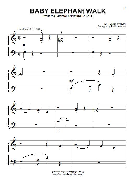 Partition piano Baby Elephant Walk de Henry Mancini - Piano Facile