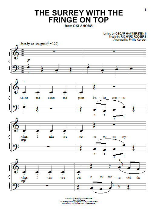 Partition piano The Surrey With The Fringe On Top de Rodgers & Hammerstein - Piano Facile