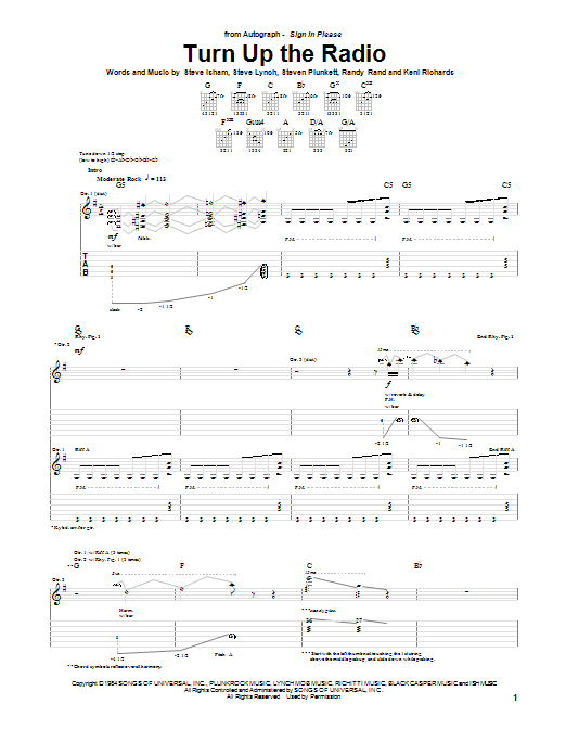 Tablature guitare Turn Up The Radio de Autograph - Tablature Guitare