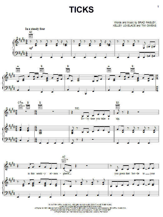 Ticks sheet music for voice, piano or guitar by Tim Owens