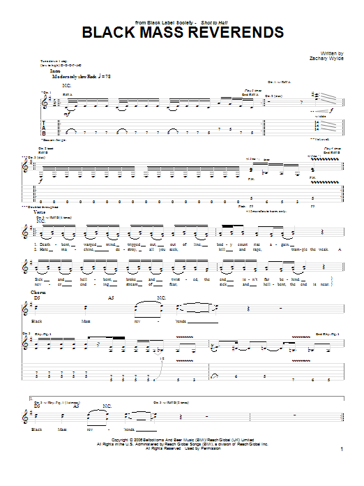 Tablature guitare Black Mass Reverends de Black Label Society - Tablature Guitare