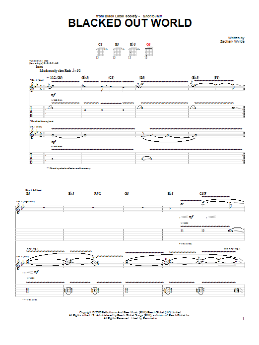 Blacked Out World sheet music for guitar solo (tablature) by Black Label Society