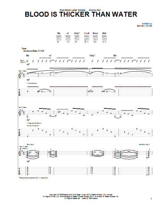 Tablature guitare Blood Is Thicker Than Water de Black Label Society - Tablature Guitare