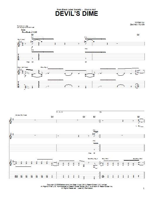 Devil's Dime sheet music for guitar solo (tablature) by Black Label Society