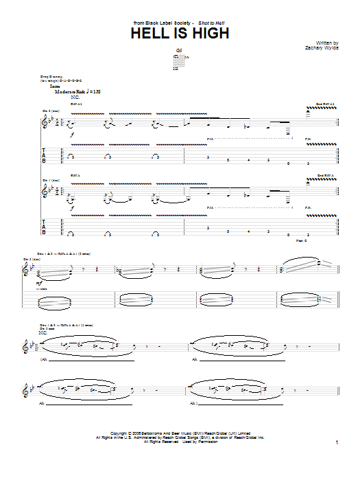 Hell Is High sheet music for guitar solo (tablature) by Black Label Society
