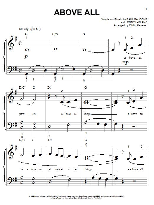 Partition piano Above All de Paul Baloche - Piano Facile