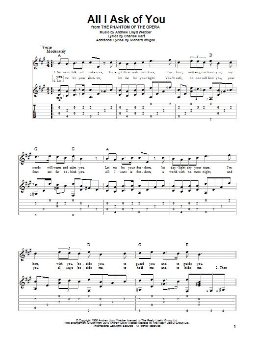 Tablature guitare All I Ask Of You de Andrew Lloyd Webber - Tablature Guitare