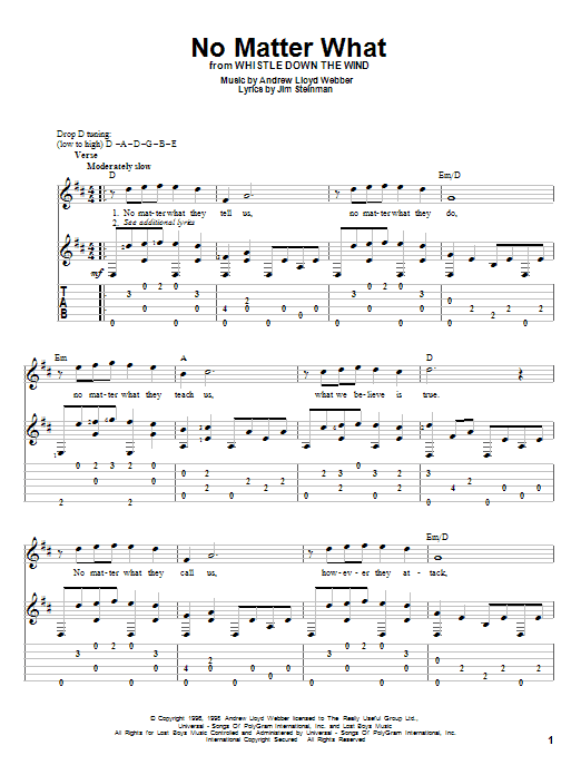 Tablature guitare No Matter What de Andrew Lloyd Webber - Tablature Guitare